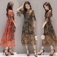 ワンピース❤大人上品な雰囲気が素敵なフレア袖の花柄ワンピ! hdfks961178