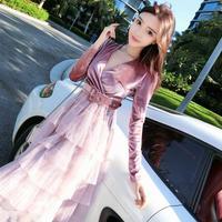 ワンピース❤韓国ドレス カシュクールにティアードスカートのフリル可愛いガーリーワンピース hdfks962020