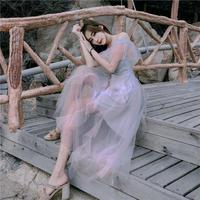 ワンピース❤韓国ドレス 大人可愛いオフショルダーシースルーロングワンピ hdfks962242