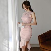 ワンピース❤韓国ドレス 大人可愛いピンクノースリーブのきれいめタイトドレス hdfks962188