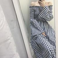 ワンピース❤韓国ファッション ギンガムチェックでオフショルダー、袖フレアの流行の要素のミモレ丈ワンピ hdfks961325