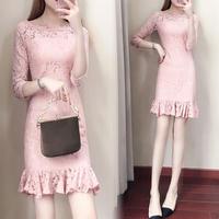 ワンピース❤韓国ドレス フリルが可愛いながらもちょっぴりセクシー花柄レースミニドレス hdfks961986