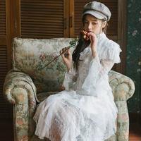 ワンピース❤韓国ドレス 幻想的ふんわりレースでティアードなホワイトワンピース hdfks962112