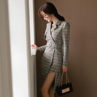 ワンピース❤韓国ドレス チェック柄、トレンチ風でアシンメトリーセクシーなきれいめ大人ワンピ hdfks961890
