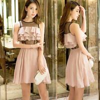 ワンピース❤韓国ドレス ドットレースにフリルが可愛いミニドレス hdfks962289