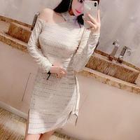 ワンピース❤韓国ドレス ワンショルダーとゴールドキラキラとっても可愛いナイトミニドレス hdfks962327