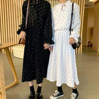 ワンピース❤襟元可愛い韓国ファッションの双子コーデドットワンピース hdfks962128