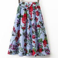 スカート❤大胆花柄だけどギンガムチェックで爽やかに♪スカート hdfks960171
