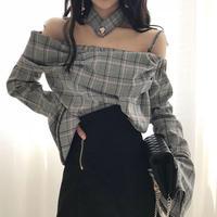 トップス❤ブラウス 韓国ファッション オフショルダーフレア袖のカッコいいブラウス hdfks961224
