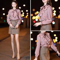 ワンピース❤秋色フリルトップスとタイトスカートの上品なセットアップワンピ hdfks961773