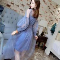 ワンピース❤韓国ドレス 大人の色合いに花柄レースが素敵なドレスワンピ hdfks961978