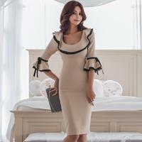 ワンピース❤韓国ドレス フレア袖とチラッと見えるレースが可愛いタイトワンピ hdfks962078