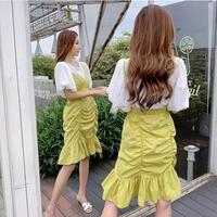 ワンピース❤袖可愛いシャツとセットの可愛いキャミワンピ hdfks962381