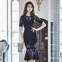 ワンピース❤韓国ドレス エレガントなレースマーメードなパーティードレス hdfks962118