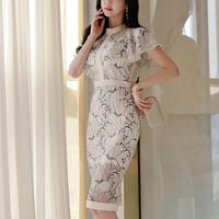 ワンピース❤韓国ドレス 花柄ホワイト可愛いセクシータイトドレス hdfks962168