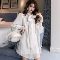 ワンピース❤韓国ドレス リボンがとっても可愛いシャツワンピ風ドレス hdfks962370