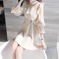 ワンピース❤韓国パーティードレス フリルとレース可愛いスマートなミニドレス hdfks962435