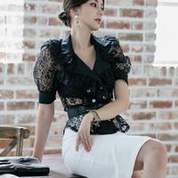 ツーピース❤韓国ドレス レースのトップとスリットセクシーなワンピース hdfks962238