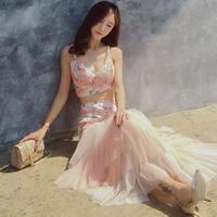 ワンピース❤とっても可愛いピンクのセットアップのリゾートワンピ!hdfks959118