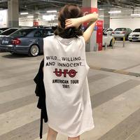 ワンピース❤スポーティーなノースリーブストリート系Tシャツワンピ hdfks961528