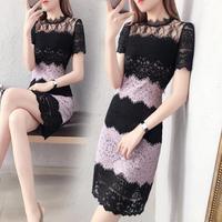ワンピース❤バイカラー大人の魅力のブラックパープルレースタイトドレス hdfks962385