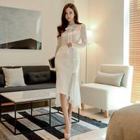 ワンピース❤上品清楚なボウタイリボン可愛いアシンメートリー韓国ドレス hdfks961797