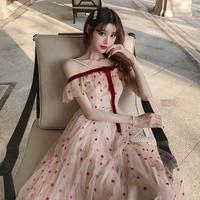 ワンピース❤韓国ドレス 星柄ドットのオフショルフェミニンガーリーワンピ hdfks962371