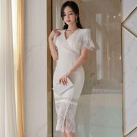 ワンピース❤韓国ドレス スカートのシースルーレースがセクシーホワイトワンピ hdfks962303