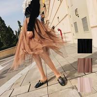 スカート❤透け感あるシースルーが可愛いティアードスカート hdfks958147
