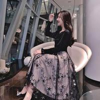 ワンピース❤韓国ドレス 可愛い星柄チュールスカートにお嬢様のようなガーリーなトップのフレアワンピ hdfks962083