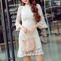 ワンピース❤韓国ドレス シースルーフレア袖のとっても可愛い花柄レースドレス hdfks962350