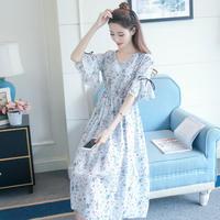 ワンピース❤カウィイ袖フレアリボン!韓国ファッション花柄ワンピ hdfks961298