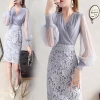 ワンピース❤韓国ドレス 上品きれいめにシースルー袖にカシュクール、レースのタイトスカートがバランスとれたエレガントワンピ hdfks962163