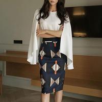 ツーピース❤UV日よけできるポンチョ風トップスに幾何学模様のタイトスカートセットアップ hdfks962268