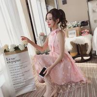 ワンピース❤韓国ドレス リボンと花柄刺繍でとってもフェミニン可愛いお嬢様プリンセスドレス hdfks962095