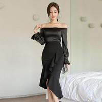 ワンピース❤韓国ドレス セクシー&エレガントに 可愛いフィッシュテールワンピースドレス hdfks962559