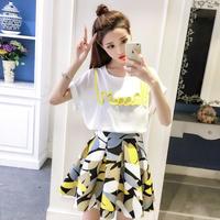 夏までに売り切れかも!ワンピース❤ツーピース ロゴプリント可愛いトップスと大人可愛い花柄スカートのセット hdfks962160
