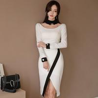 ワンピース❤韓国ドレス バイカラー、襟や袖先がとっても個性的なタイトドレス hdfks961911