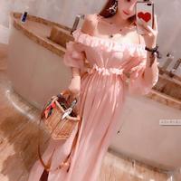 ワンピース❤韓国ドレス フリルオフショルのピンク可愛いマキシワンピ hdfks962256