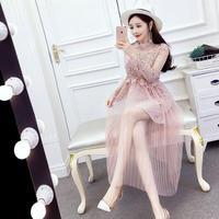 ワンピース❤韓国ドレス 花柄レースにチュールスカートが可愛いツーピースドレスワンピ hdfks962045
