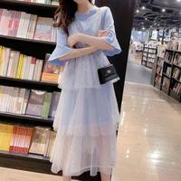 ワンピース❤ロゴTシャツワンピにスパンコールの幻想的ティアードスカートのロングワンピ hdfks962401