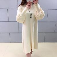 ワンピース❤袖がちょっぴりバルーンで可愛いシンプルニットワンピース hdfks961767