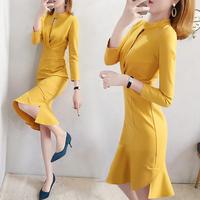 ワンピース❤韓国パーティードレス イエローが引き立つ個性的マーメードドレス hdfks962463