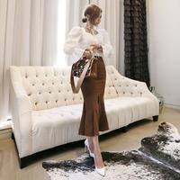 ワンピース❤セットアップ マーメードスカートにフェミニンガーリーなブラウスのセットワンピ! hdfks961719