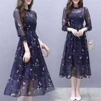 ワンピース❤韓国ドレス 蝶と子花柄がとっても大人可愛いパーティードレス hdfks962162