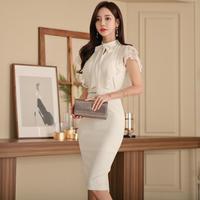 セクシーワンピース❤清楚大人可愛いホワイトボウタイリボンの韓国ドレス hdfks962206