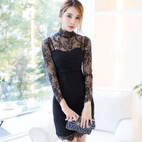 ワンピース❤韓国ドレス 大人可愛い花柄レースとスカート裾のアシンメトリー hdfks962290