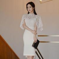 ワンピース❤韓国パーティードレス レースケープが上品な雰囲気のタイトワンピース hdfks962542