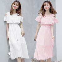 ワンピース❤韓国ドレス デザイン可愛い無地シンプルなドレスワンピ hdfks962176
