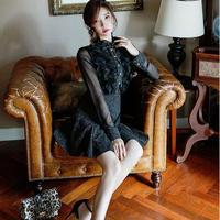 ワンピース❤韓国ドレス レースにリボンがガーリーな大人フェミニンブラックワンピース hdfks961952